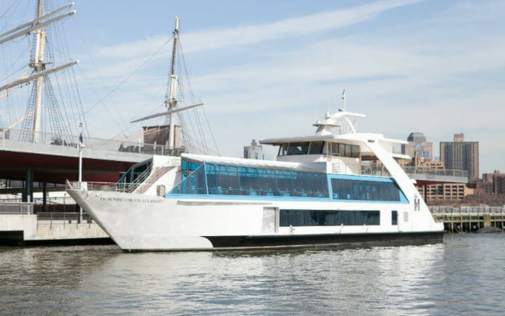 A Hornblower cruise vessel serving as nyc event space at pier 15