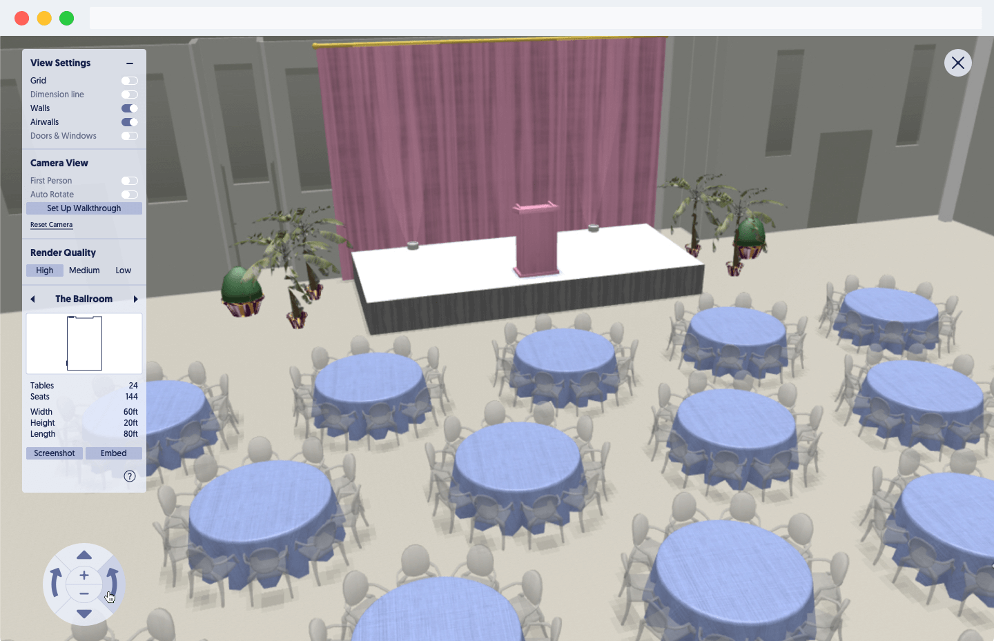 A 3D diagram in Social Tables' event planning software