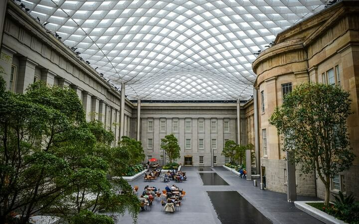The Kogod Courtyard at the National Portrait Gallery in Washington DC