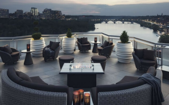 The Watergate Hotel rooftop is a sophisticated DC event space