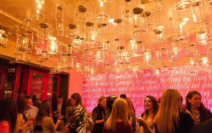 Hip wine-glass chandeliers at the Lincoln restaurant in Washington DC