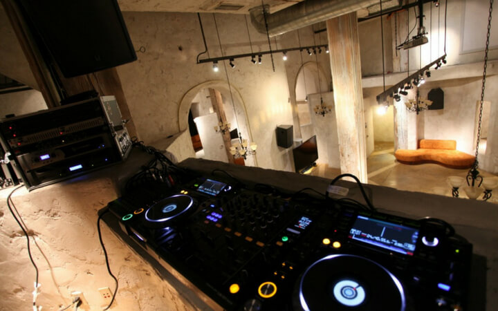 Dj equipment is set up on the balcony of the San Francisco event space Venue 550