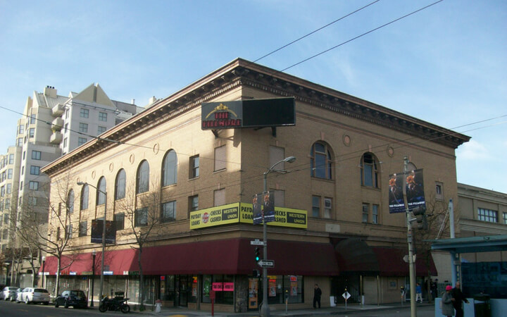 The exterior of the Filllmore in San Francisco where many legendary bands have played