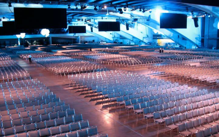 A massive convention space at the Moscone Center in San Francisco