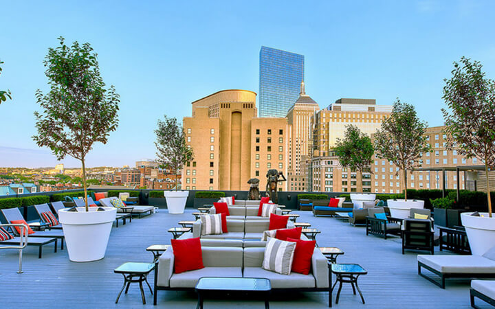 The rooftop event space at the Revere Hotel in Boston