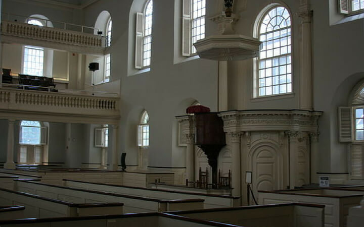 The interior event space of the Old South Meeting House in Boston