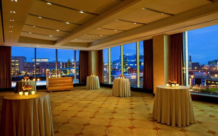 A reception space at an Intercontinental Boston event venue