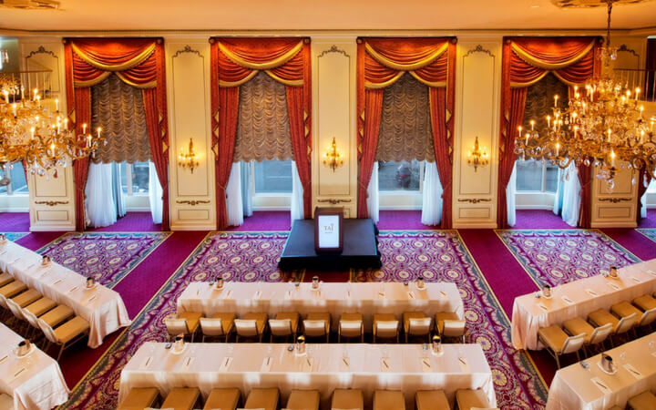 The grand ballroom at the Taj Hotel set up as a Boston event space
