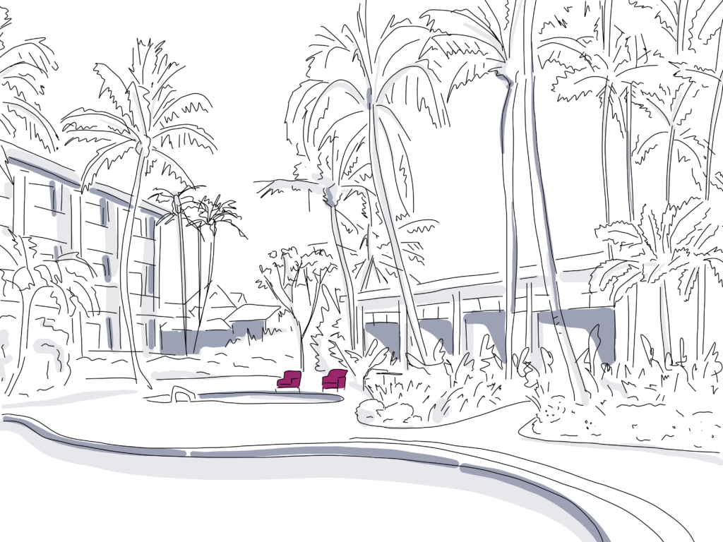 rendering of trees and pool set up for outdoor event