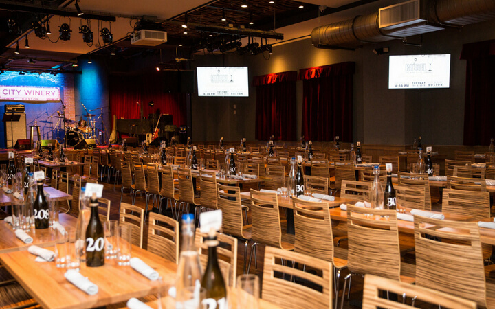 The stage and event space at city winery in Boston