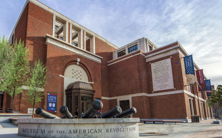 The exterior of the Museum of the American Revolution building