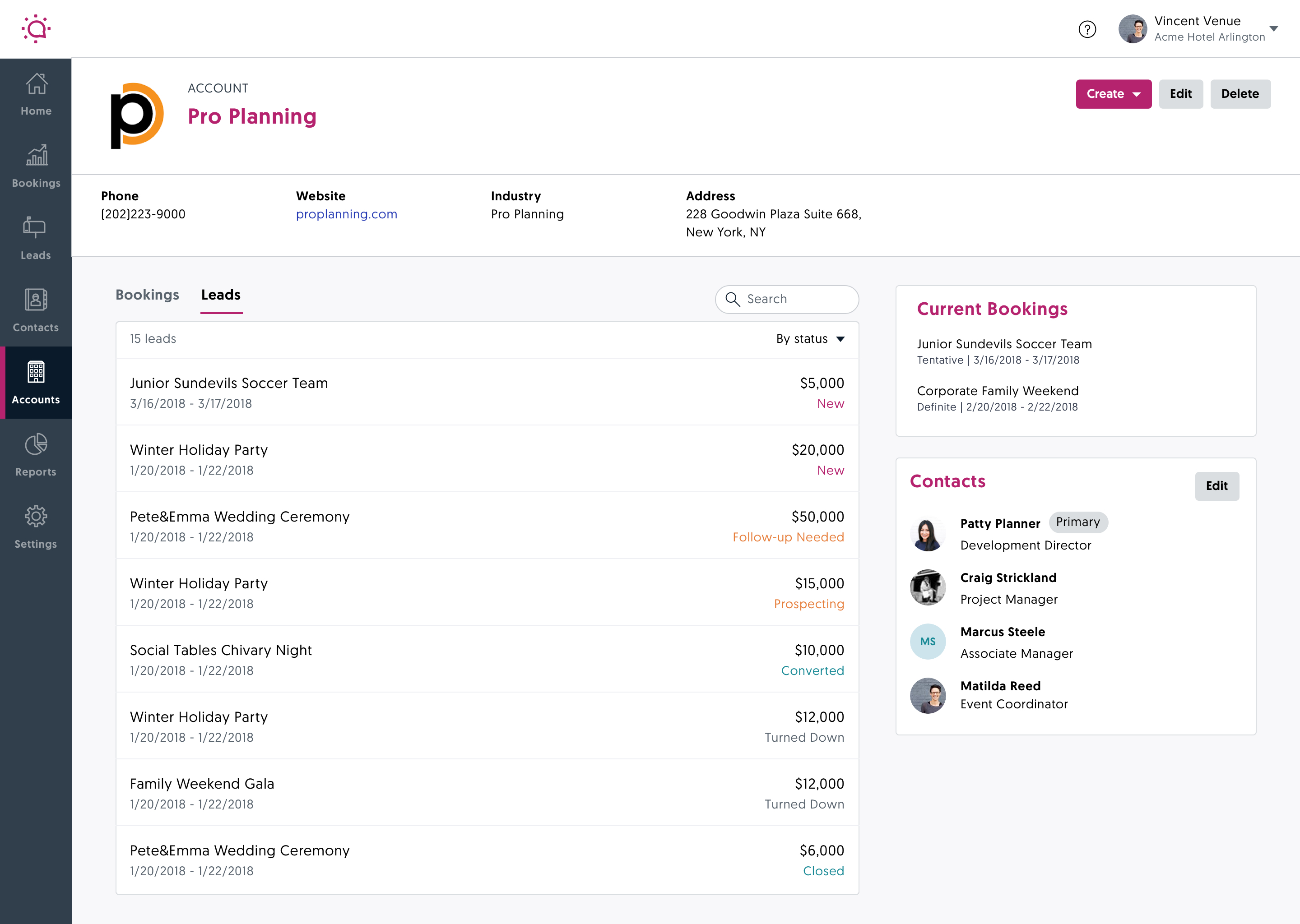 Screenshot of an account profile in Social Tables S&C CRM Software