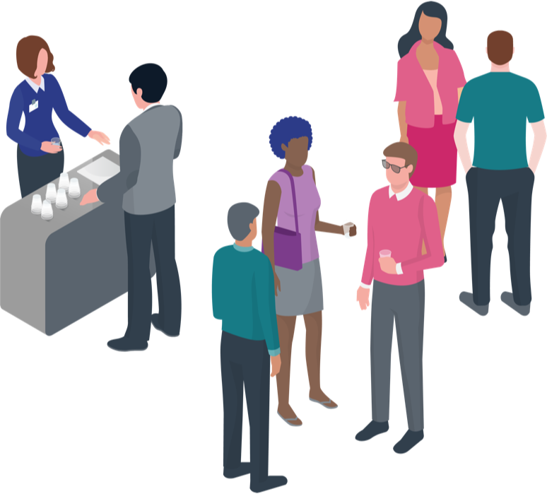 Illustration of individuals at an event