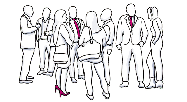 People talking at a meeting. How to identify a hotel target market.