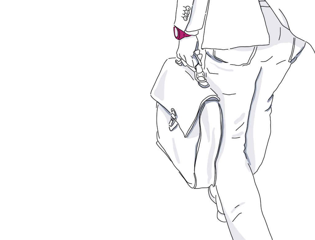 sketch of businessperson walking with briefcase