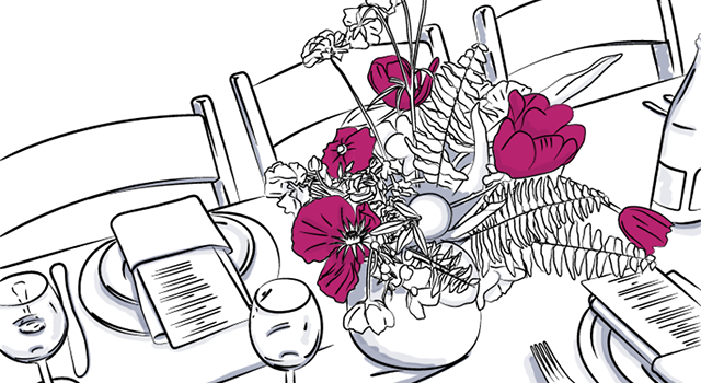 drawing of flowers, table and chair at wedding