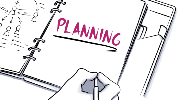 digital drawing of event planning notebook