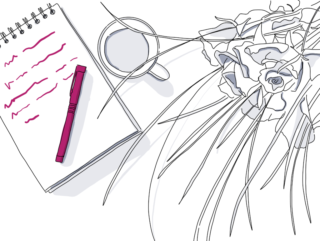 digital drawing of notepad on table with coffee