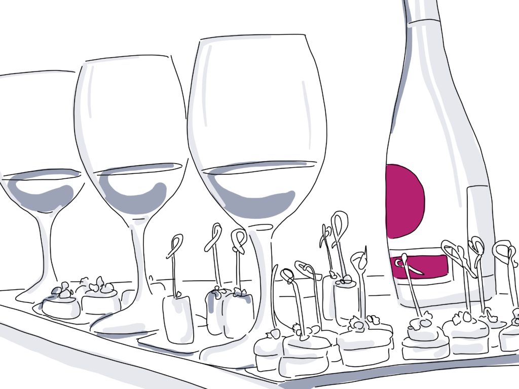 illustration of wine and snacks on serving tray