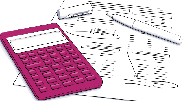 rendering of calculator and documents for event budgeting
