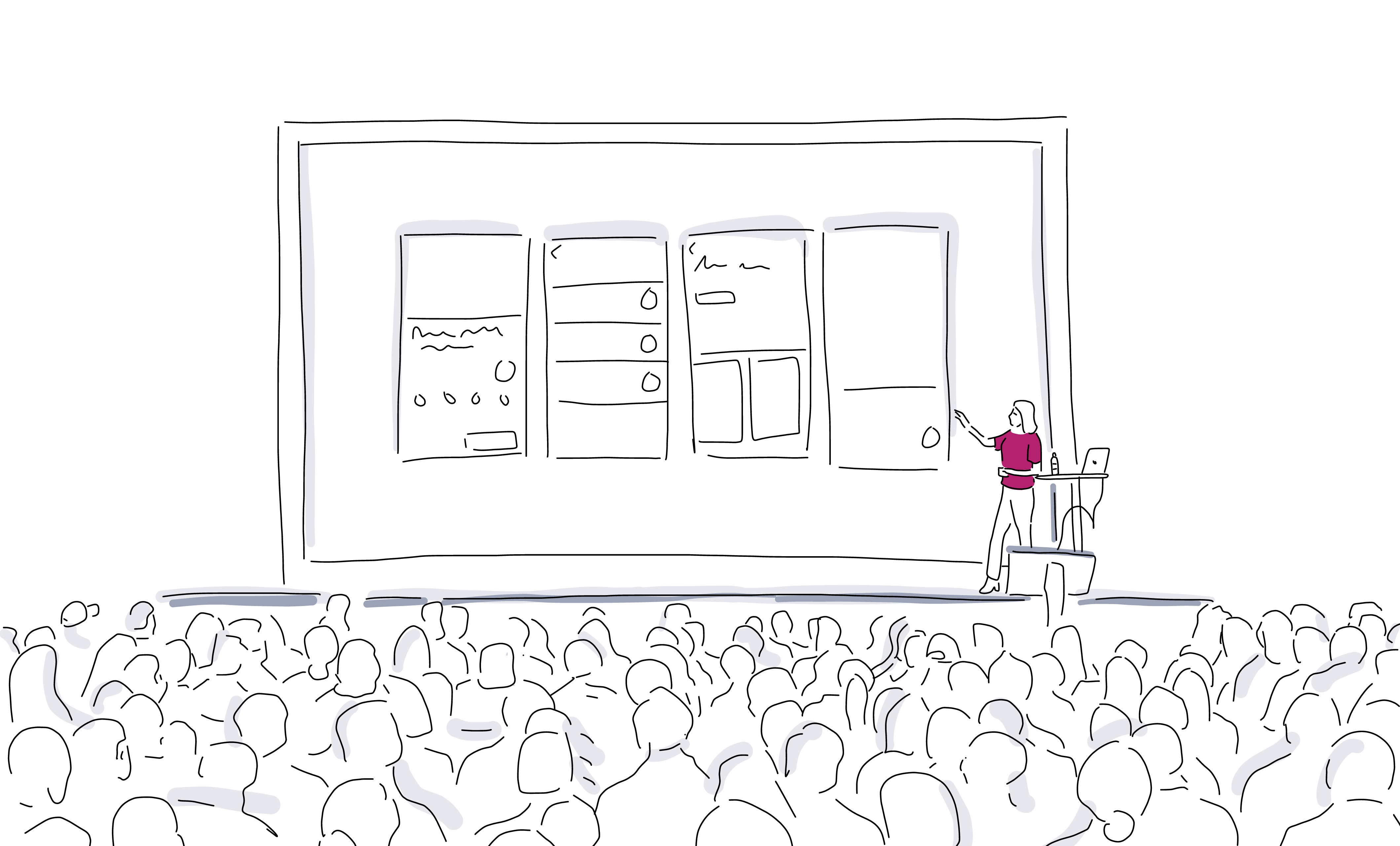 3D illustration of speaker engaging with audience during event presentation on stage