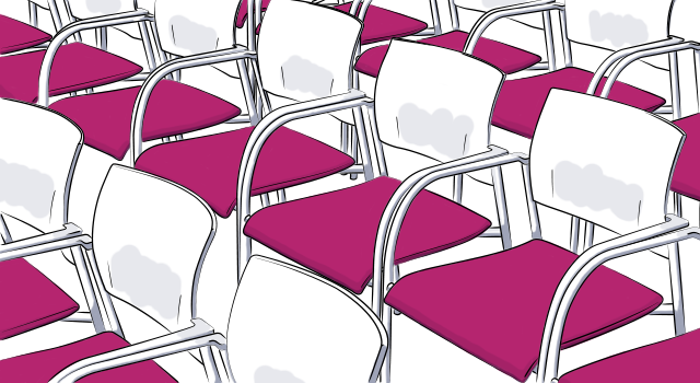 rendering showing chair seating arrangement at event