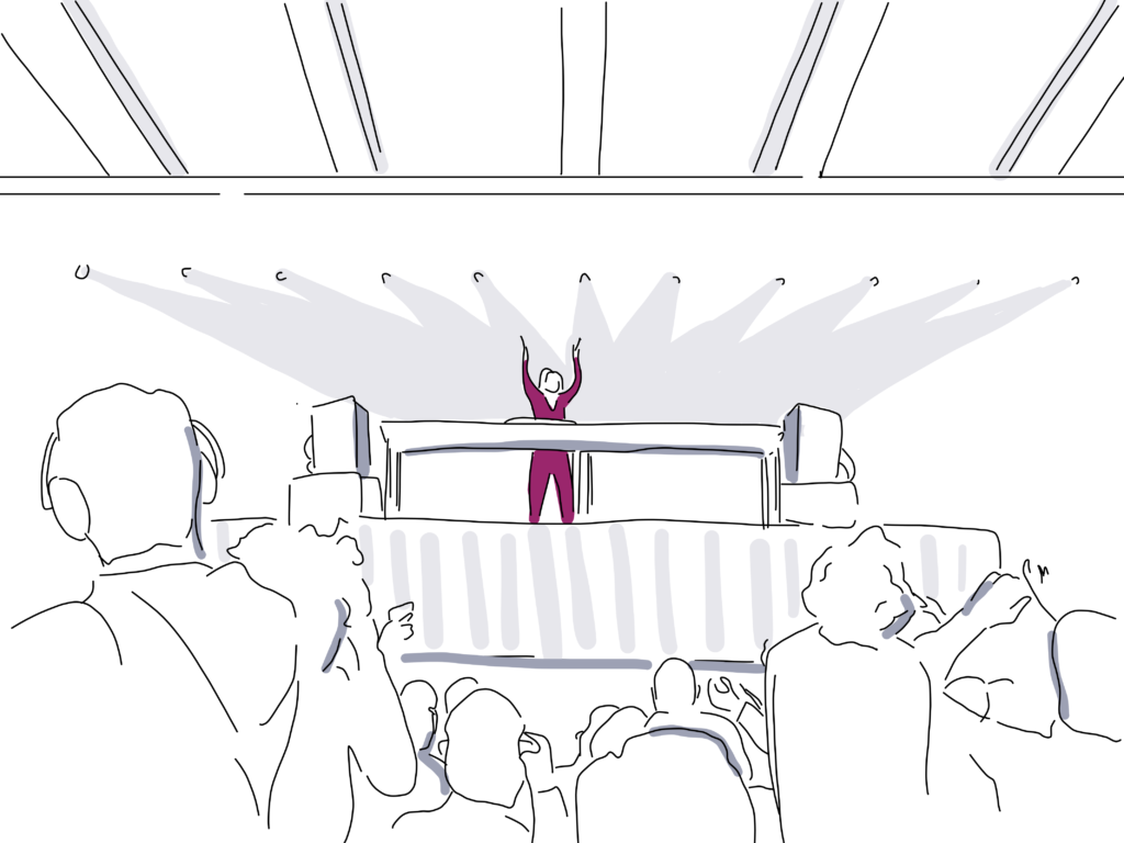 Illustration of DJ playing music on stage with audience cheering