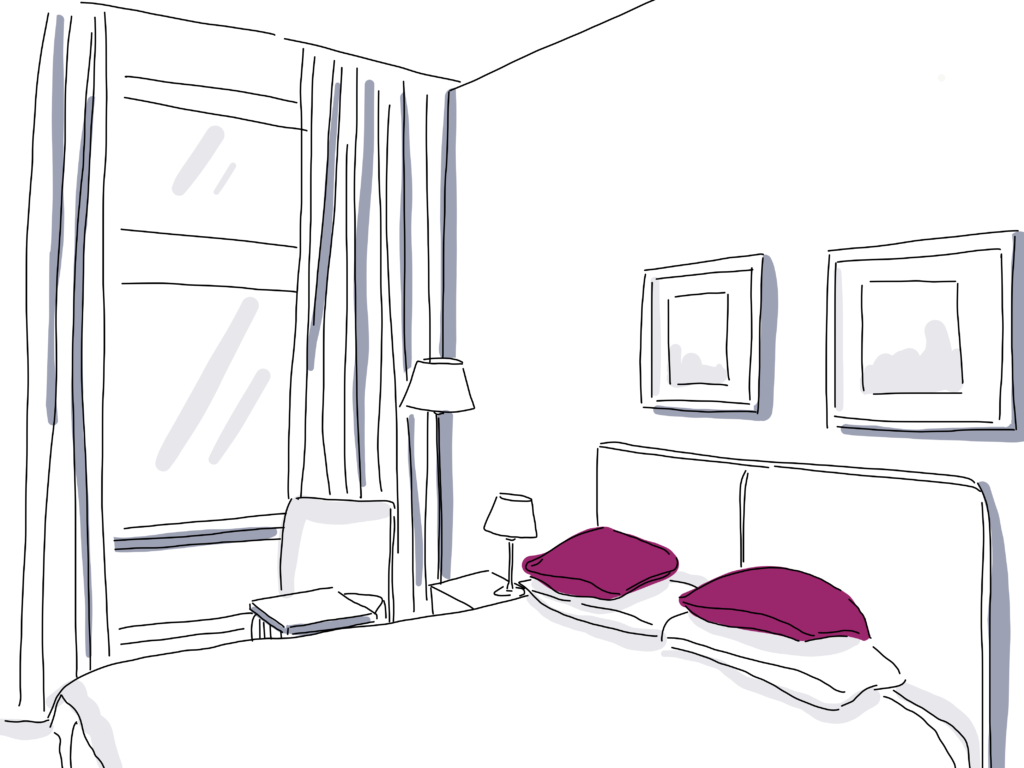 illustration of hotel room with bed