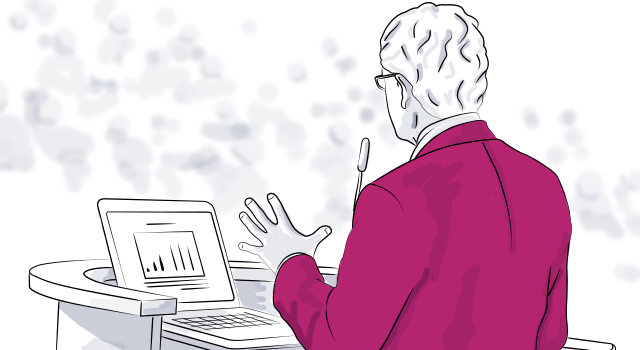 digital drawing of a keynote speaker speaking at a podium at an event