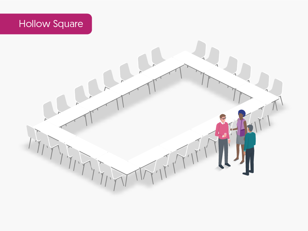 3d rendering of hollow square seating arrangement type